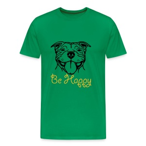 Mens/Unisex Staffy Smile 'Be Happy' T-Shirt - Men's Premium T-Shirt