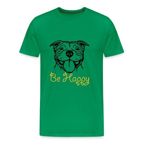 Mens/Unisex Staffy Smile 'Be Happy' T-Shirt - Men's Premium T-Shirt
