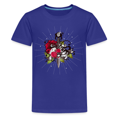 Cyan Heart's blood-The heart,the rose and the dagger Kids' Shirts