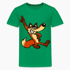 Kelly green Cartoon Fox Strut by Cheerful Madness!!  Kids' Shirts
