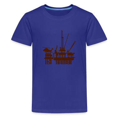 Cyan Ölplattform / offshore oil rig (1c) Kids' Shirts