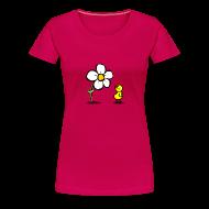 T-Shirts ~ Frauen Premium T-Shirt ~ Vogel Blumeshirt (farbig)