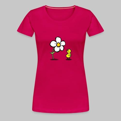 Vogel Blumeshirt (farbig) - Frauen Premium T-Shirt