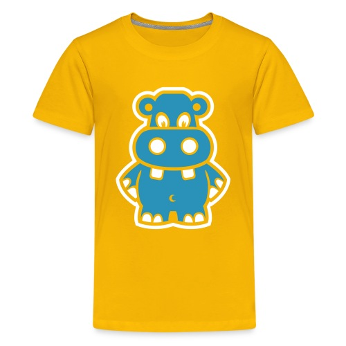 Cute For Kids - Blue Hippo (Yellow) - Teenage Premium T-Shirt