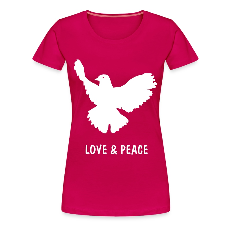Ladies Shirt Pink with Peace Dove Print - Women's Premium T-Shirt