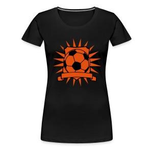 Voetbal Schild zonder naam, zwart en oranje flex - Vrouwen Premium T-shirt