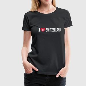 Schwarz I Love Switzerland Girlie - Frauen Premium T-Shirt