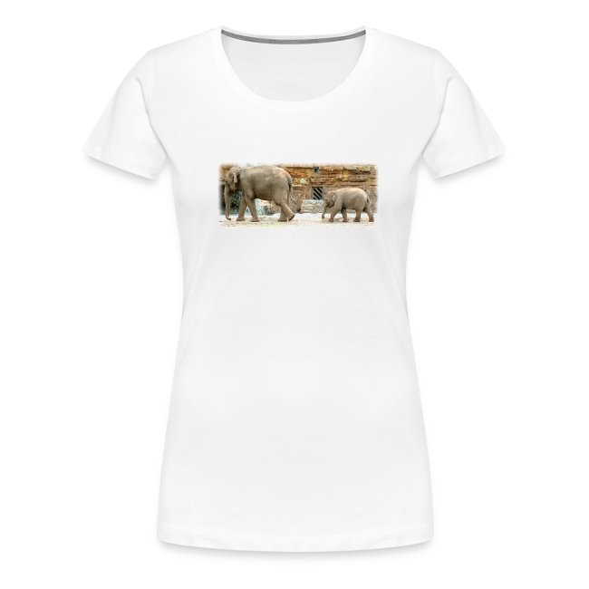 Elephants, Mother & Baby Continental Classic Women's T Shirt