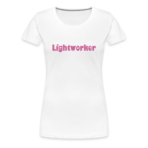 Women's Premium T-Shirt - Bright white t-shirt with pink sparkly lettering for the heart-centred Lightworker