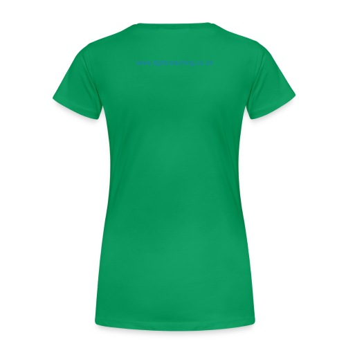 Women's Premium T-Shirt - Grass green t-shirt with sea blue glittery lettering for Earth Angels everywhere