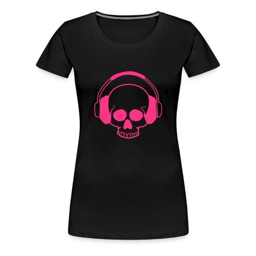 Skull Headphones, roze flexprint - Vrouwen Premium T-shirt