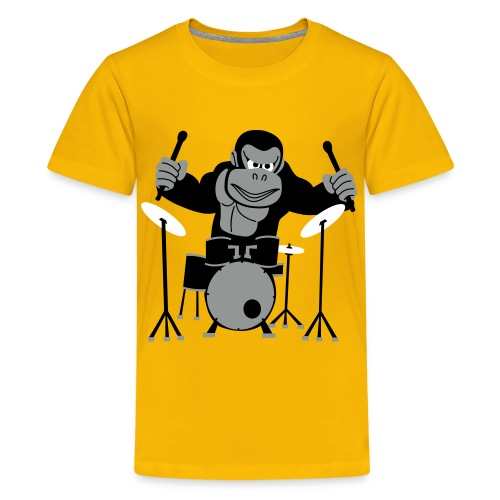 Drumming Gorilla (Various Colours) - Teenage Premium T-Shirt
