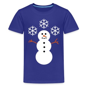 Happy Snowman with Snow - Teenage Premium T-Shirt