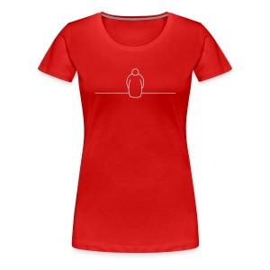 druck weiß auf brust und ärmel rechts - Frauen Premium T-Shirt