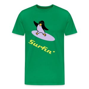 Surfin Penguin - Grass - Men's Premium T-Shirt