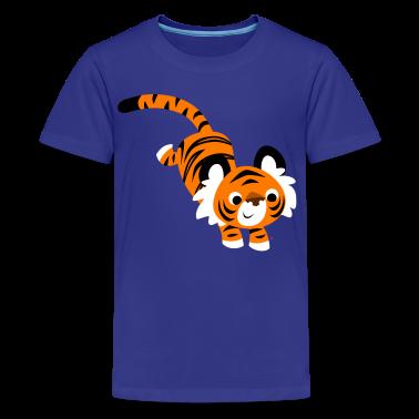 Cyan Cute Jumping Cartoon Tiger by Cheerful Madness!! Kids' Shirts