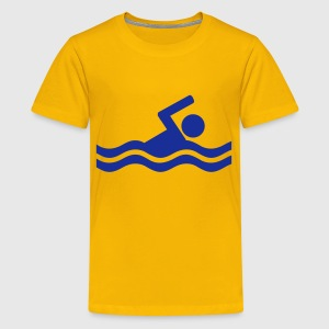 Gelb Schwimmer Kinder T-Shirts - Teenager Premium T-Shirt