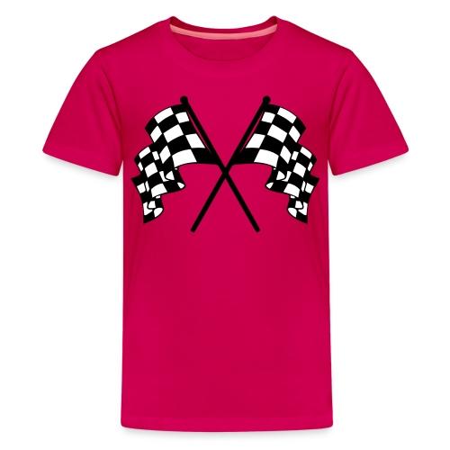 CHEQUERED FLAG - PINK - GIRLS - Teenage Premium T-Shirt