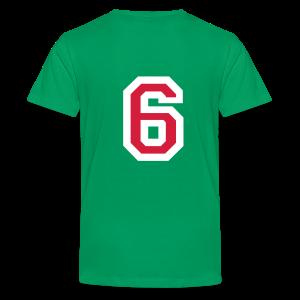 Rückennummer 6 Kinder T-Shirt (Rot/Weiß) - Teenager Premium T-Shirt