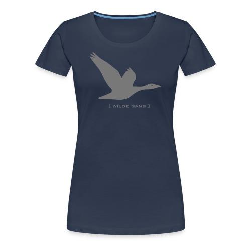 Damen Shirt Gans Wilde Gans grau Tiershirt Shirt Tiermotiv - Frauen Premium T-Shirt