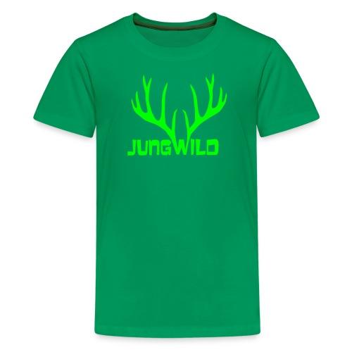 shirt t-shirt hirsch geweih hirschkopf elch hirschgeweih wald wild tier jäger jägerin jagd förster tiershirt shirt tiermotiv weihnachten rentier - Teenager Premium T-Shirt
