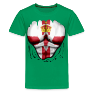 Shirts ~ Teenage Premium T-Shirt ~ Northern Ireland Flag Ripped Muscles, six pack, chest t-shirt