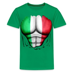 Mexico Flag Ripped Muscles, six pack, chest t-shirt - Teenage Premium T-Shirt