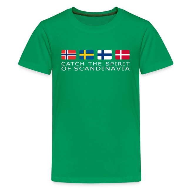 Teenager T-Shirt CATCH THE SPIRIT OF SCANDINAVIA white-lettered