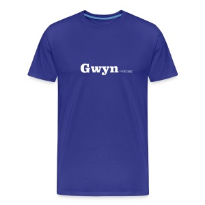 Gwyn Wales white text - Men's Premium T-Shirt