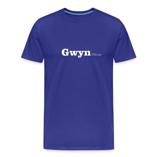 Gwyn Wales white text - Men's Premium T-Shirt