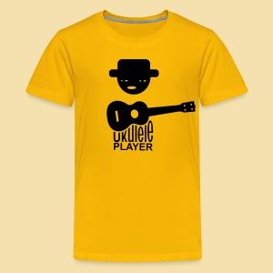 Kidshirt: Ukulele Player (Motiv: schwarz / vorne) - Teenager Premium T-Shirt