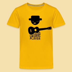 Kidshirt: Ukulele Player (Motiv: schwarz / vorne) - Teenager Premium T-Shirt