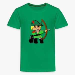 Kid Billy featured as Robin Hood archer - Teenage Premium T-Shirt