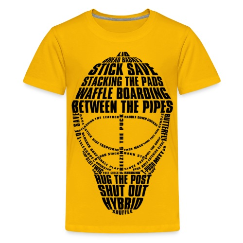 Hockey Goalie Mask Typography Children's T-Shirt - Teenage Premium T-Shirt