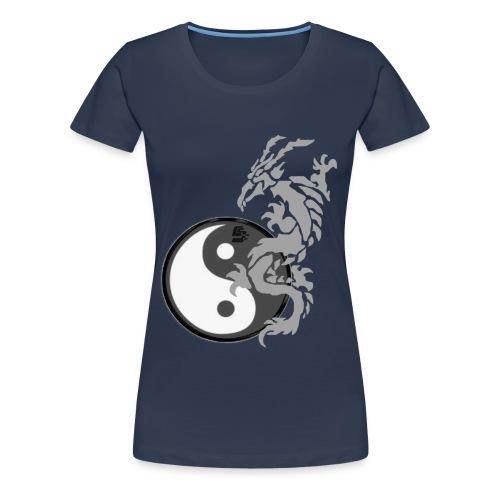 tshirt dragon tribal 001 gris - T-shirt Premium Femme