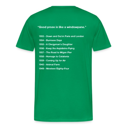 George Orwell Mens Bibliography T-Shirt - Men's Premium T-Shirt