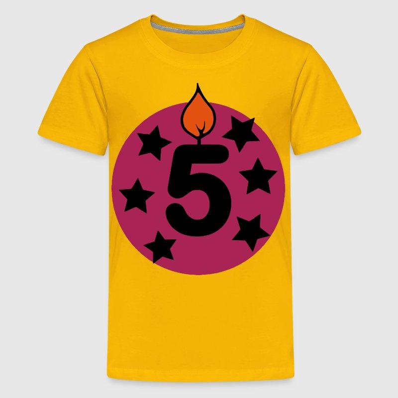5 f nfter geburtstag sterne geburtstagskerze kerze t shirt spreadshirt. Black Bedroom Furniture Sets. Home Design Ideas
