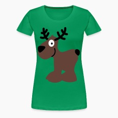 cute moose caribou reindeer deer christmas norway rudolph rudolf winter scandinavia canada smile eyes T-Shirts