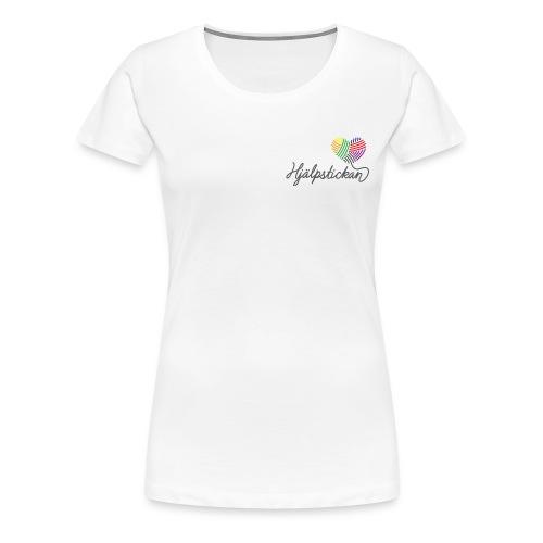 Damtopp med tryck fram å bak - Premium-T-shirt dam