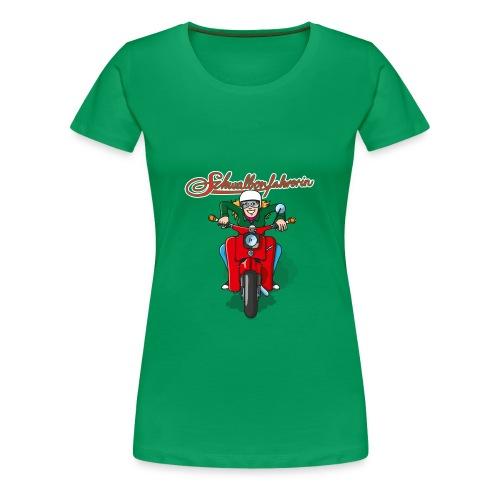 Schwalbenfahrerin Comic Übergrößen-Shirt - Frauen Premium T-Shirt