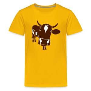 kuh rind muh milch bauer farm alm heidi fleckvieh  lila cow Kinder T-Shirts - Teenager Premium T-Shirt