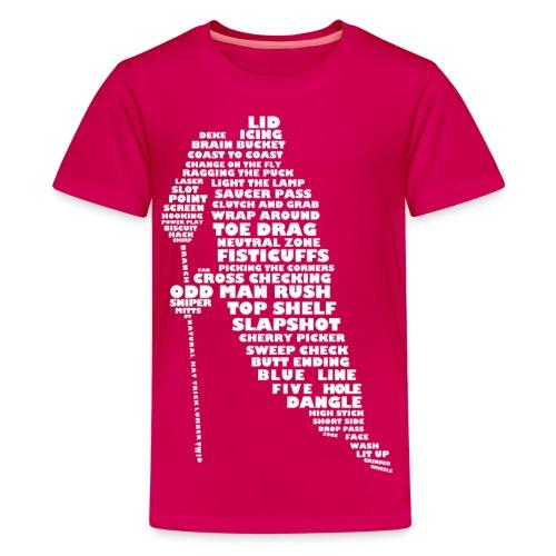 Hockey Player Typography Teenager T-Shirt (light print) - Teenage Premium T-Shirt