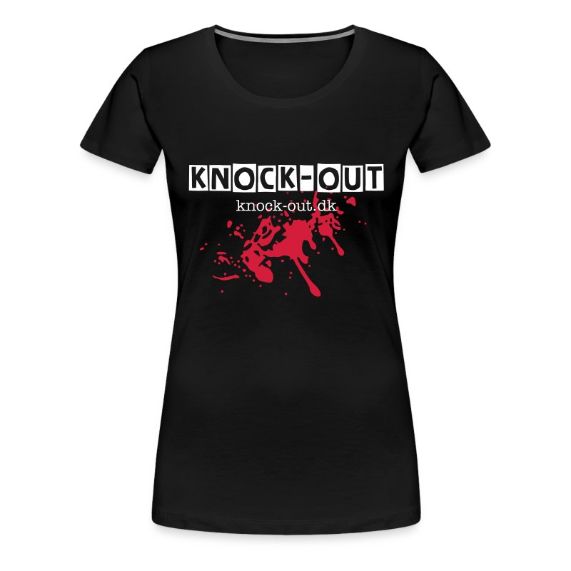 Sort Kortærmet Dame T-shirt med Knock-Out på brystet - Dame premium T-shirt