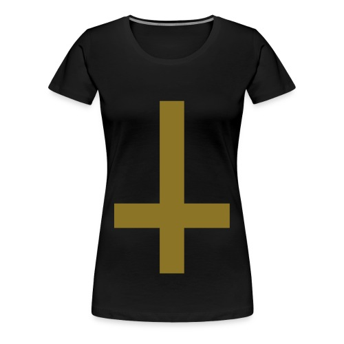 Ladies Upside Down Cross Tee Gold-Metallic/Black - Women's Premium T-Shirt