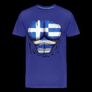 T-Shirts ~ Men's Premium T-Shirt ~ Greece Flag Ripped Muscles six pack chest t-shirt