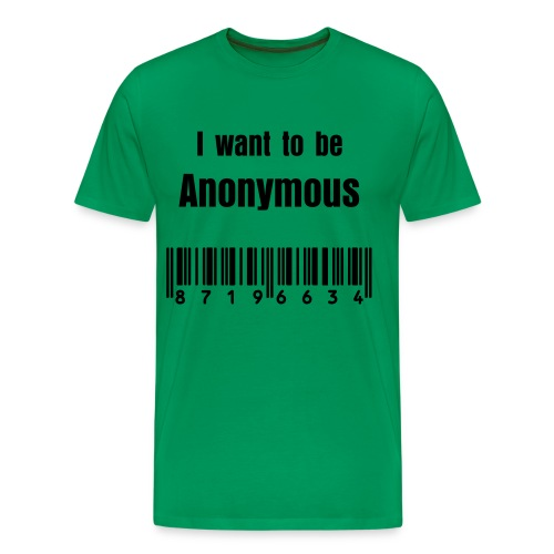 Anonymous t-shirt I want to be anonymous barcode - Men's Premium T-Shirt