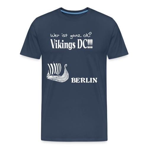 Ganz OK - Übergröße weiss auf blau Flockdruck - Männer Premium T-Shirt