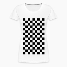 White pattern chequered black white T-Shirts