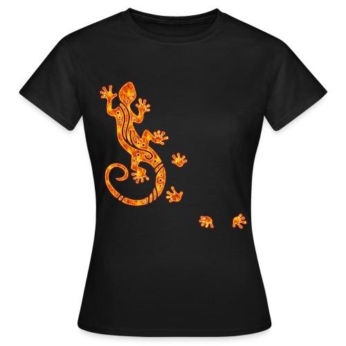 Running Gecko Fire   Frauen Shirt Girlie Style - Frauen T-Shirt