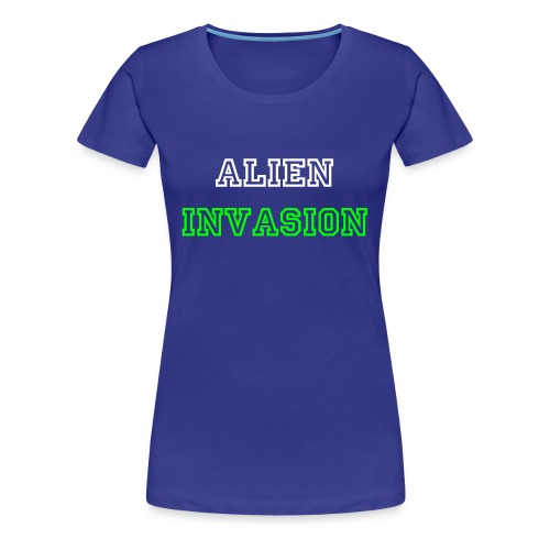 Women's baby blue alien invasion white text - Women's Premium T-Shirt
